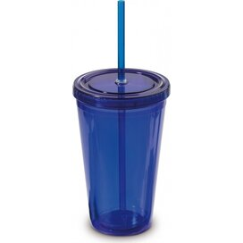 Drinkbeker met rietje 500ml Transparant Blauw