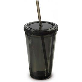 Drinkbeker met rietje 500ml Transparant Zwart