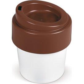 Hot-but-cool koffiebeker met deksel 240ml Wit/Bruin