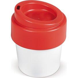 Hot-but-cool koffiebeker met deksel 240ml Wit / Rood